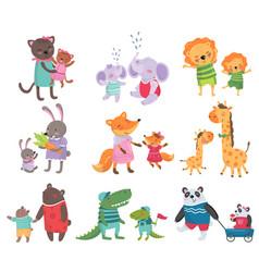Cartoon set of cute animal family portraits cats vector