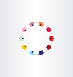 colorfull houses circle logotype vector image vector image