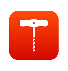 corkscrew with a metal spiral icon digital red vector image vector image