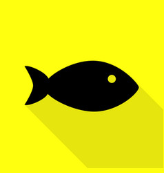 Fish sign black icon with flat style vector