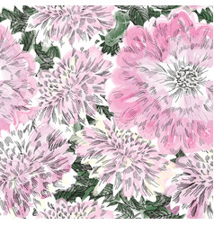 Floral seamless pattern flower chrysanthemum vector