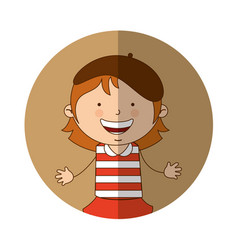 French little girl character vector