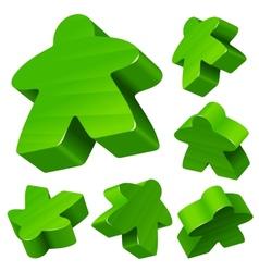 Green wooden Meeple set vector image vector image