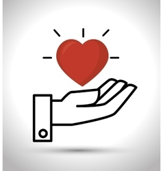 hand hold heart design vector image