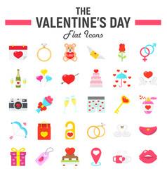 happy valentines day flat icon set vector image vector image
