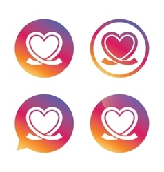 Heart ribbon sign icon love symbol vector