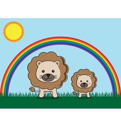 lion and kid vector image