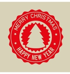 merry christmas happy new year red badge vector image vector image