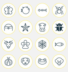 nature icons set collection of spider puppy vector image