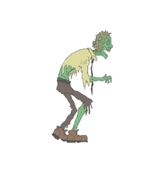 Office Worker Creepy Zombie Outlined Drawing vector image