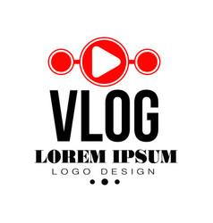 Original vlog or digital online blog badge with vector