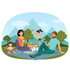 parents and children having a picnic outside near vector image