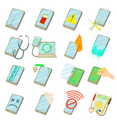 Repair phones fix icons set cartoon style vector