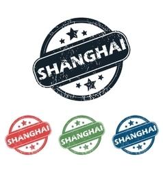 Round shanghai city stamp set vector