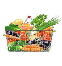 Supermarket Basket with Vegetables vector image