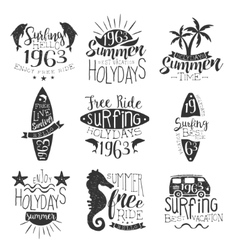 Surfing holidays vintage stamp collection vector