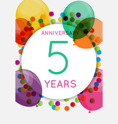 Template 5 years anniversary congratulations vector