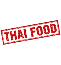 Thai food red square grunge stamp on white vector
