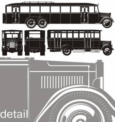 Vintage bus set vector