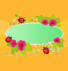 With flowers and summer beetles for books and vector