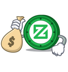 with money bag zcoin character cartoon style vector image
