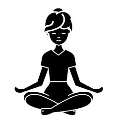 yoga woman icon black sign vector image vector image