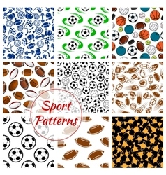 Sport balls fitness items seamless patterns set vector