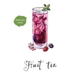 Glass of fruit tea with mint vector
