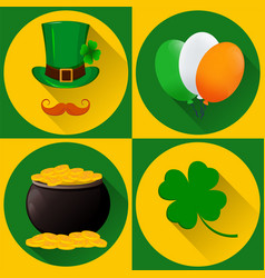 St patricks day set of icons green hat and vector