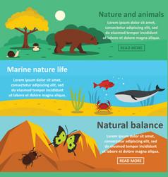 Nature animals banner horizontal set flat style vector