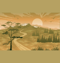 Landscape with mountains and sunrise sky vector