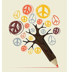 Peace icon tree pencil concept vector image