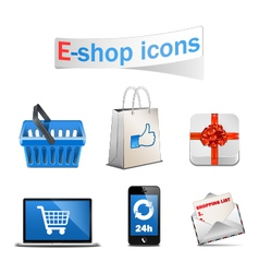 E shop icons vector