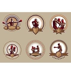 Set of six circular boxing icons or emblems vector