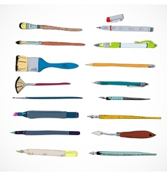 Drawing tools icons sketch vector
