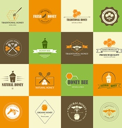 Set of honey labels vector