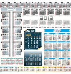 2012 year calendar grids vector image