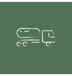 Fuel truck icon drawn in chalk vector