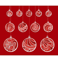 Set of vintage christmas balls vector
