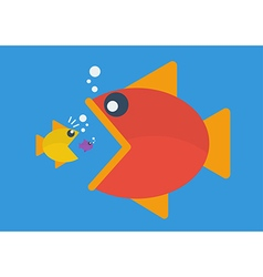 Big fish eat little fish flat style vector