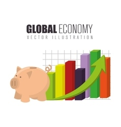 Global economy growth up vector