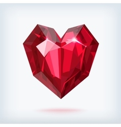 Faceted ruby heart vector