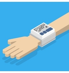 Blood pressure monitor on hand vector