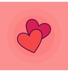 Two hearts flat icon vector