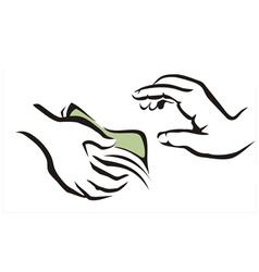 giving a money symbol vector image
