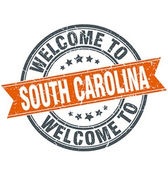 welcome to South Carolina orange round ribbon vector image