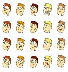 Emotions in cartoon faces of boys vector