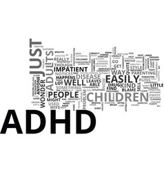 Adhd children text word cloud concept vector