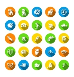 Animals pets flat round icons set vector image vector image