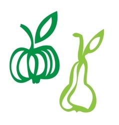 Apple and pear stylized icons vector image vector image